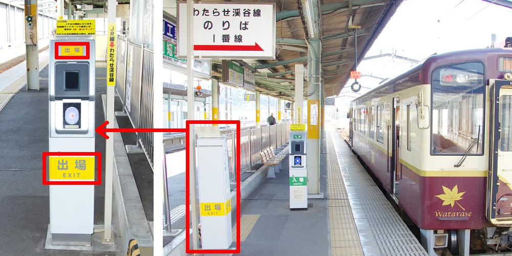 桐生駅の「出場用」簡易改札機